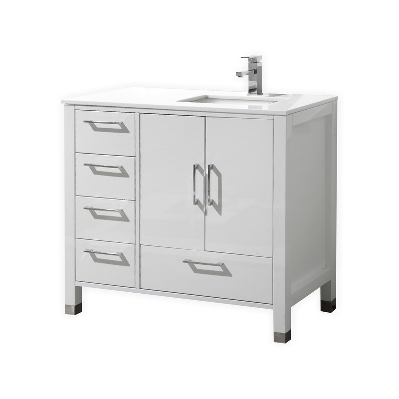 Anziano 36 High Gloss White Vanity Left Side Drawers