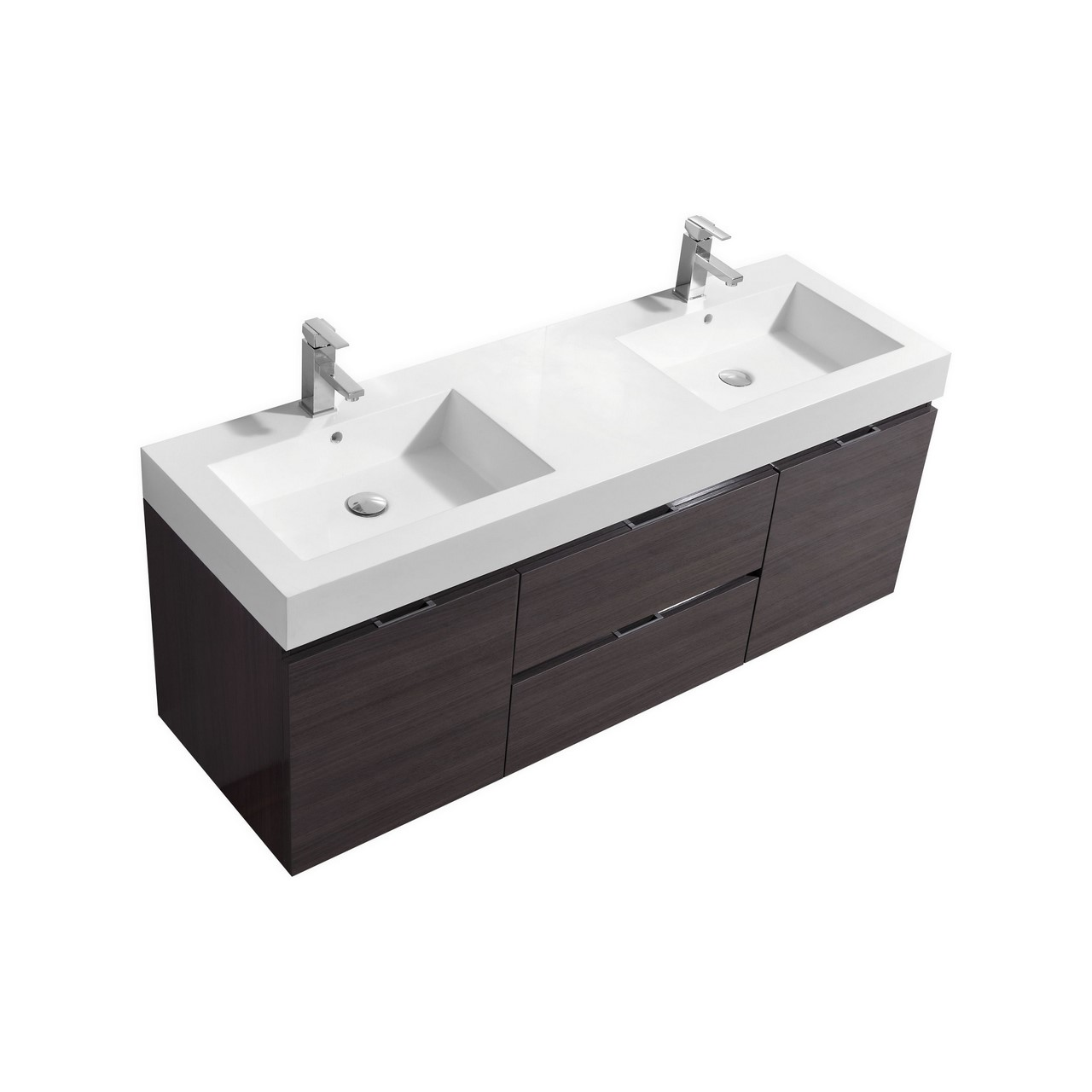 bliss 60 high gloss gray oak wall mount double sink vanity. Black Bedroom Furniture Sets. Home Design Ideas
