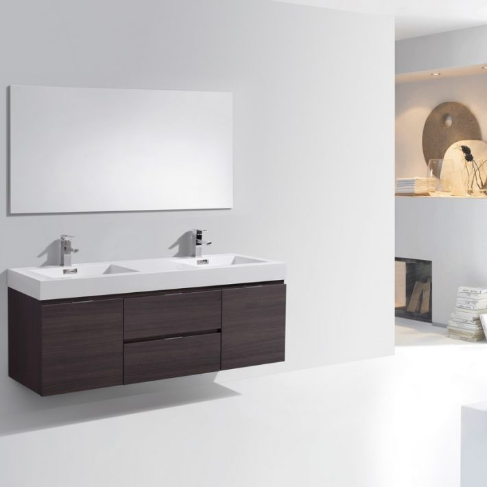 Bliss 60 High Gloss White Wall Mount Double Sink Modern Bathroom Vanity