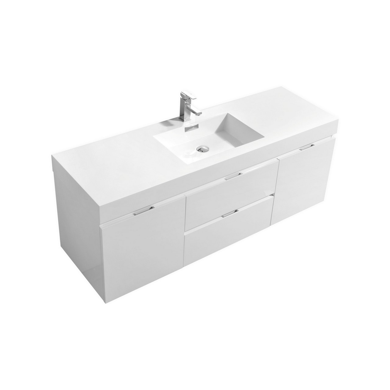 Bliss 60 high gloss white wall mount single sink vanity 60 in bathroom vanities with single sink