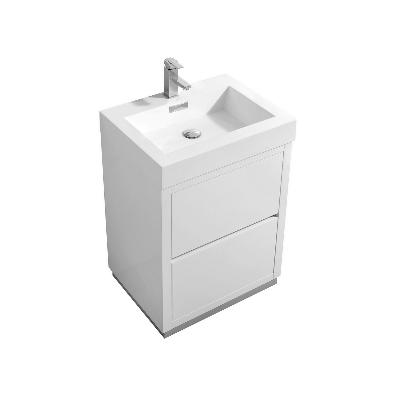 Bliss 24 High Gloss White Free Standing Modern Bathroom Vanity