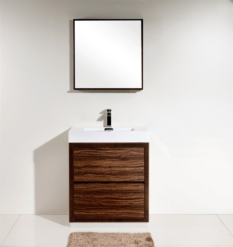Bliss 30 Walnut Free Standing Modern Bathroom Vanity