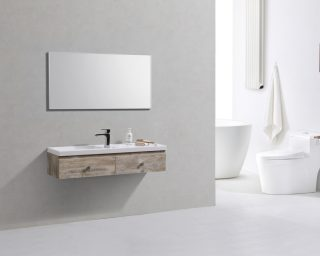 "Kube Elise 44"" Nature Wood Wall Mount Modern Bathroom Vanity"