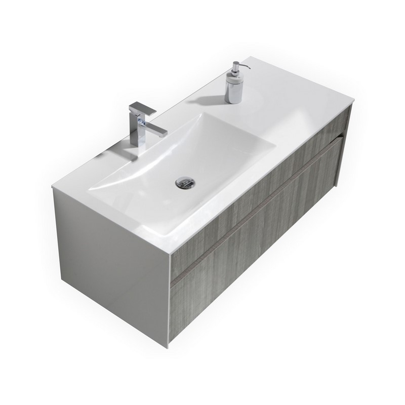 Fitto 48 Ash Gray Wall Mount Modern Bathroom Vanity