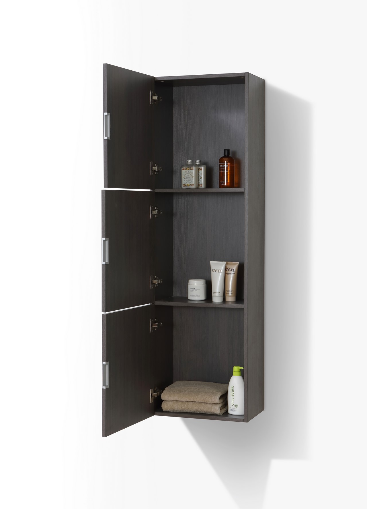 Bathroom High Gloss Gray Oak Linen Side Cabinet W 3 Large